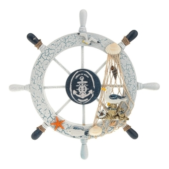 Nautical Beach Wooden Boat Ship Steering Wheel Fishing Net Shell Home Wall Decor (Seabird) - intl Price Philippines