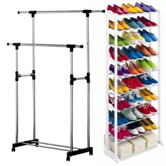 Adjustable Double Rail Garment Rack with Shoes Shelf on Wheels With ASOT Amazing Shoe Rack (White) Price Philippines