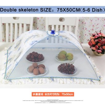 Harga Mimosifolia Double Skeleton Fold Rectangle Encryption Food Cover anti Fly Insect Table Cover Lace Dish Umbrella Plate Serving Covers - intl