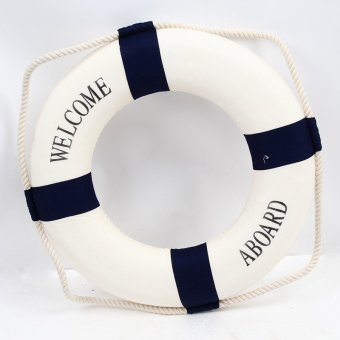 Hanyu Welcome Aboard Cloth Navy Nautical Decor New – Decoration 25cm Buoy Mediterranean Style Artware Blue - Intl Price Philippines