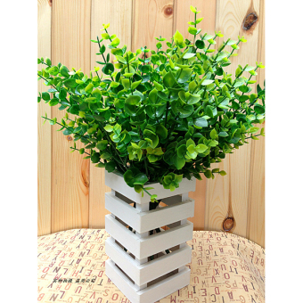Harga 7 Branches Green Artificial Small Leaves Plant Eucalyptus Grass cafe Home Decor