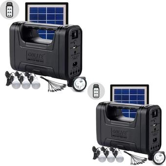 Harga GD-8007 Solar Lighting System set of 2 (Black)