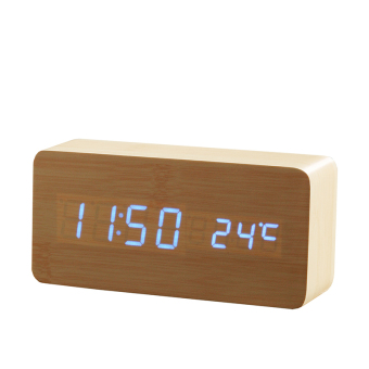 Wooden LED Alarm Clock+Time/date/temperature Digital Bamboo Wood Clock Voice Activated Table Clocks Reloj Despertador Wekker (Blue) - intl Price Philippines