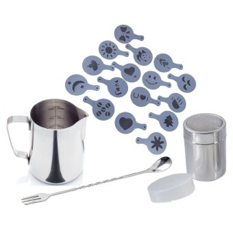 Stainless Steel Frothing Pitcher, S/S Cocoa Shaker, S/S 10inch Stirrer, and 16pc Stencil Set for Cappucino/Latte Coffee Price Philippines