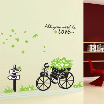 Harga Wall Decal - Tricycle carrying Flowers and green leaves