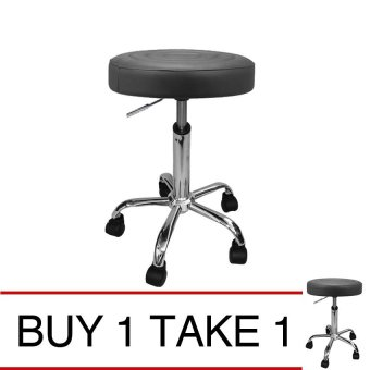 Harga Ergodynamic BS-44 Deluxe Faux Leather Drafting Stool Furniture (Black) Buy 1 Take 1