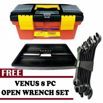 Harga Prostar Durable 10 Inch Tool Box (Black)with Free Venus 8 pcs Open Wrench