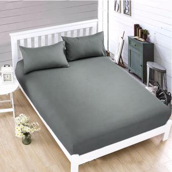 Harga MODERN SPACE High Quality US Cotton Bedsheet Single Size With FREE Two Pillow Cases (Grey)