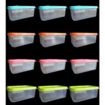 Harga 12pcs Hitop Plastic Durable Food Keeper Lunch Box 749g