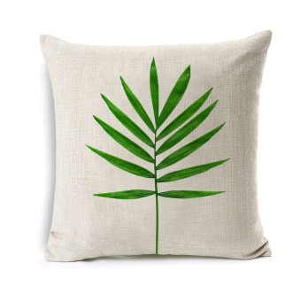 Harga Green Leaf Sofa Cushion Pillow Cover Retro Style Botany Spring Leaves Simple Style Cotton Linen Pillowcase