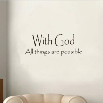 Harga Vinyl With God All Things Are Possible Quote Letter Wall Sticker Room Art Decor