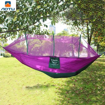 Harga Aotu 2.6 x 1.4M Camping Portable High Strength Parachute Fabric Sleeping Hammock with Mosquito Net
