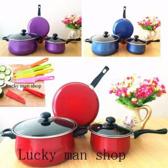 BIG SIZE 10 IN 1 As seen on TV Big promotion stainless steel pan red and knife set Price Philippines