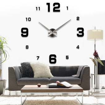 Harga Modern Simple Style DIY Large 3D Wall Sticker Time Clock for Home Office Decoration (Black)