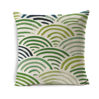 Harga Fresh Green Sofa Decorative Cushion Cover Geometric Simple Style Polyester Cotton Linen Pillowcase