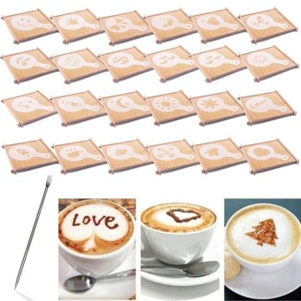 Harga 23 Designs Cappuccino Latte Barista Coffee Art Stencils Template Strew Pad Duster Spray Art + 1pc Coffee Latte Art Pen - intl