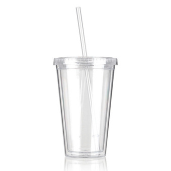 500mL Plastic Drinks Cup Liquid Beaker Lid + Straw for Party Iced Price Philippines