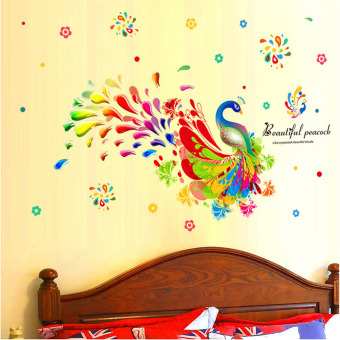 Harga Mimosifolia 3D Peacock Wallpaper PVC Mural Art House Decoration Home Picture Wall Paper for Adult Kids 60X90 - intl