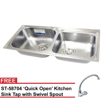 Harga Oulin OL-312 Kitchen Sink (Silver) with FREE Sink Tap