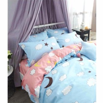 Harga MODERN SPACE High Quality US Cotton Bedsheet With FREE Two Pillow Cases Moon Printed Design