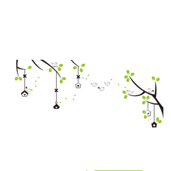 Harga Practical Cartoon birds and green leaves photo frame wall sticker AY716 - intl