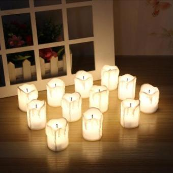 Harga Mimosifolia Decorative LED Flickering Flameless Candles Set Tea light Holders Fall Decor Halloween Christmas Decorations Gift 3.6CMX5CM 12PCS - intl