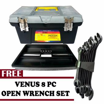 Harga Prostar Durable 16 Inch Tool Box (Black)with Free Venus 8 pcs Open Wrench