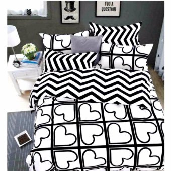 Harga MODERN SPACE High Quality US Cotton Fitted Bedsheet With FREE Two Pillow Cases Heart Printed Design