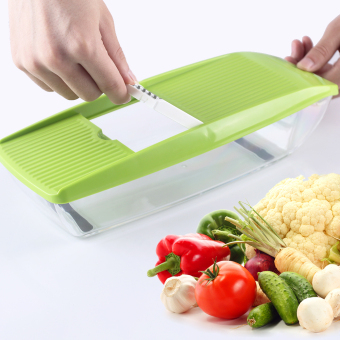 Mandoline Slicer Manual Vegetable Cutter with 5 Blades Potato Carrot Grater for Vegetable Onion Slicer Kitchen Accessories (green) - intl Price Philippines