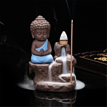 Harga Ceramic Little Monk Smoke Backflow Cone Censer Holder Incense Burner Decoration Blue - intl