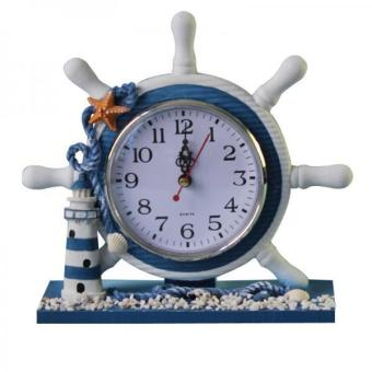 BolehDeals Wooden Nautical Anchor Boat Steering Wheel Time Clock Table Decor Lighthouse - intl Price Philippines