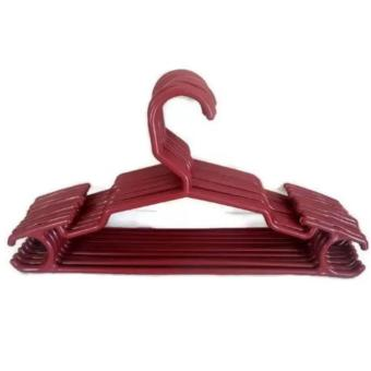 Harga 10 Pcs. New Practical Plastic Clothes Hangers (Maroon) 300g