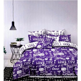 Harga MODERN SPACE High Quality US Cotton Fitted Bedsheet With FREE Two Pillow Cases I Love You Printed Design(Purple/White)