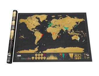 Leegoal Novelty World Map Educational Scratch Off Map Poster Travel Map Wall Map - Black - intl Price Philippines