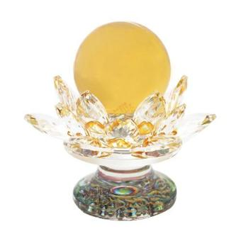 Harga Feng Shui Yellow Crystal Ball with Lotus Crystal Holder Base