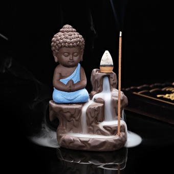 Harga Ceramic Small Buddha Cone Smoke Back-flow Incense Burner Stick Holder Decoration (Blue) - intl