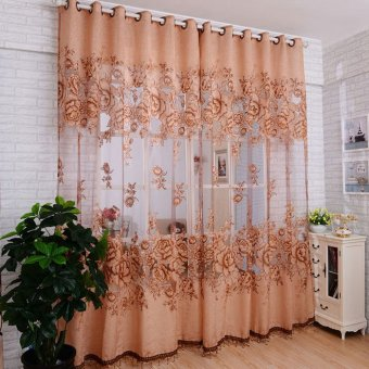 Fashion Mordern Room Floral Tulle Window Screening Curtain Drape Scarfs Coffee Price Philippines