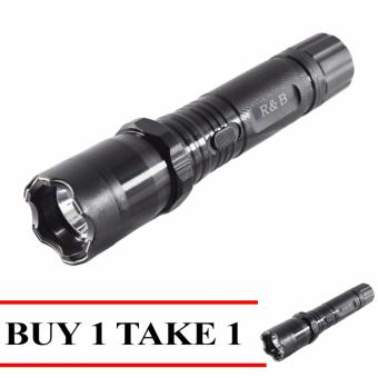 Harga Fashion Rechargeable Police Flashlight with Stun Gun Taser Buy 1 Take 1 (Black)