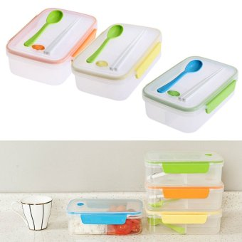 Harga Transparent Three Compartments Lunch Bento Box Food Snack Container Storage