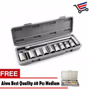 Heavy Duty 10 Pieces Socket Wrench Set with FREE Aiwa Best Quality 40 Pcs Medium Auto Repair Hand Tool Combination Socket Wrench Set Price Philippines