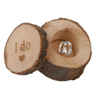 leegoal Wooden Printed Chic Rustic Wedding Ring Bearer Box Custom Ring Box (I Do Love Heart Printed) - intl Price Philippines