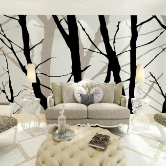 Art Deco Wallpaper For Home Wall Covering Canvas Adhesive Required Mural Black Branch Background XXL (13'6''X8'3'') - intl Price Philippines