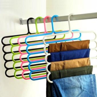 Harga Trousers Towels Clothes Apparel Hangers Five-layer Space Saving (blue)