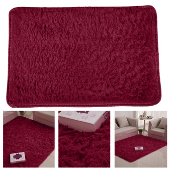 Harga Fluffy Rugs Anti-Skid Shaggy Area Rug Dining Carpet Floor Mat Wine Red