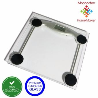 Harga Manhattan Homemaker Accuscale kg/lbs/stones Digital Tempered Glass Bathroom Scale with Battery (150kg capacity)