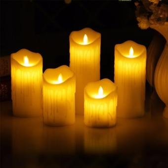 Harga Mimosifolia Flameless LED Electronic Simulation Candle lamp Romantic Wedding Hotel Home decoration Candle Birthday Party Candlelight Dinner Remotely Control 7.5CMX10CM 1PCS - intl