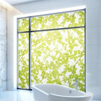 Harga OrangeTag Green Leaves Frosted Glass Privacy Film / Sticker