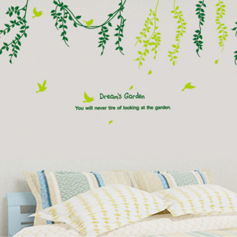 Harga Mimosifolia 3D Leaves Wall Sticker Decal Wallpaper PVC Mural Art House Decoration Home Picture Wall Paper for Adult Kids 60X90 - intl