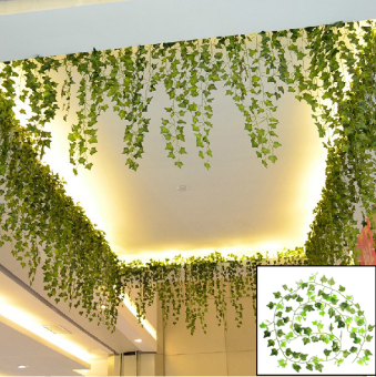 Harga 1Pc 8.2 Feet Green Artificial Hanging Ivy Leaf Leaves Plants Vine Fake Foliage