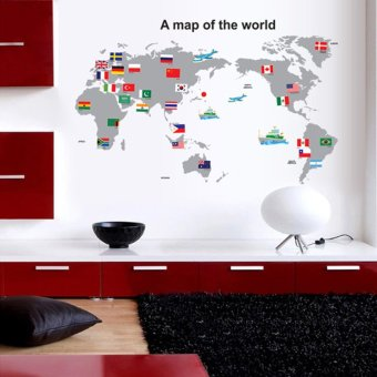 Harga World Map PVC Wall Stickers